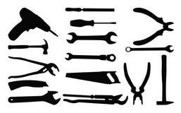 工具剪影 向量例证