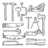 工具在木匠业车间 向量手拉的例证 向量例证
