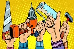 工具看见了钻子漆滚筒锤子 免版税图库摄影