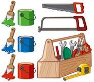 工具箱和油漆桶 皇族释放例证