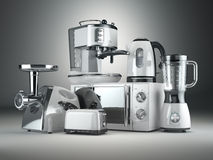 工具背景例证厨房白色 搅拌器,多士炉,咖啡机器,肉ginde 皇族释放例证