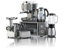 工具背景例证厨房白色 搅拌器,多士炉,咖啡机器,肉ginde 库存例证