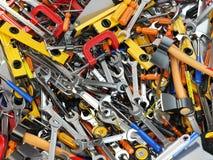 工具背景 不同的工具堆  车间 库存图片