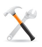 工具锤击,并且螺旋扳手象导航illustr 免版税库存图片