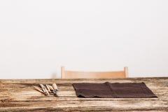 工匠工作场所,白色背景,自由空间 库存图片