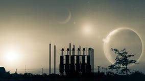 工厂剪影日落的 背景书幻想grunge魔术垂直的世界 地球pla的图象 免版税库存图片