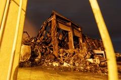 工厂厂房被烧成灰烬 免版税库存图片
