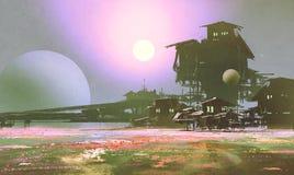 工厂和产业在花田,科学幻想小说场面 免版税库存图片