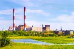 工厂和流 图库摄影
