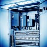 工厂地板,自动化的机械控制室 图库摄影