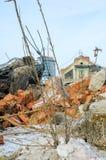 工厂废墟在秋明州 免版税库存照片