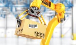 工厂操作器 自动手举行在传动机上的纸板箱 皇族释放例证
