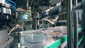 工厂机器密封与箔片断的面包屑 食物工厂设备 股票录像