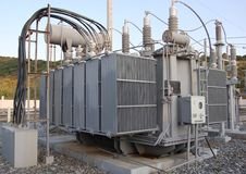 工厂电源变压器 图库摄影
