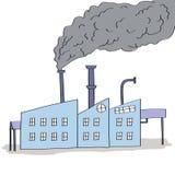工厂的手拉的例证有黑烟的 向量例证