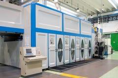 工厂-纸板粮食容器的生产 免版税库存照片