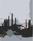 工厂grunge剪影 向量例证