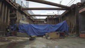 工地工作,传输基础设施对象的建筑 股票录像