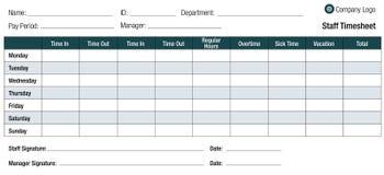 工时表雇员的模板表 免版税库存图片