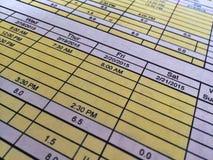 工时表 免版税库存图片
