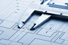 工程图和轮尺 库存图片