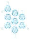 工程图形等量螺母投影螺丝 图库摄影
