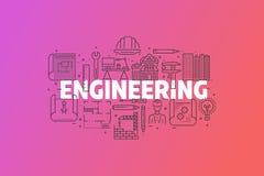 工程学和图纸横幅例证 库存图片