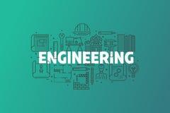 工程学和图纸横幅例证 库存照片