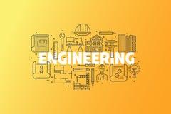 工程学和图纸横幅例证 免版税库存图片