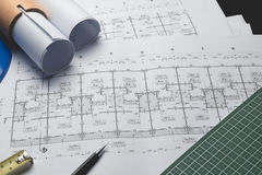 工程学图晒图纸起草的项目剪影曲拱 免版税图库摄影