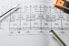 工程学图晒图纸起草的项目剪影曲拱 库存图片