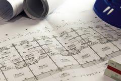工程学图晒图纸起草的项目剪影曲拱 库存照片