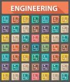工程学象,减速火箭的样式,五颜六色的版本 免版税库存照片