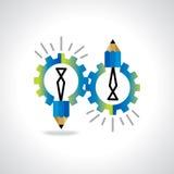 工程学齿轮喜欢与铅笔的电灯泡想法 免版税库存照片