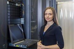 年轻工程师和女实业家有管理控制台的 图库摄影