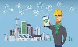 工程师和聪明的工厂概念 事工业互联网  传感器网络 现代数字式工厂传染媒介 图库摄影