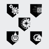 工程师平的标志五边形 免版税库存照片