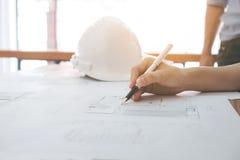 工程师的图象或建筑项目,关闭Architec 免版税库存照片