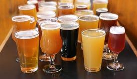 工艺啤酒品尝飞行 免版税库存图片