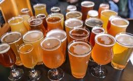 工艺啤酒品尝飞行 库存照片