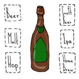 工艺啤酒瓶乱画样式剪影 手拉的向量例证 免版税库存照片