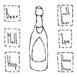 工艺啤酒瓶乱画样式剪影 手拉的向量例证 免版税库存图片