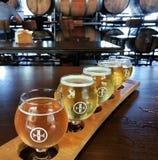 工艺啤酒飞行在一个品尝室里面的 免版税库存图片