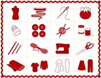 工艺图标红色缝合的剪影 免版税图库摄影