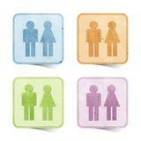 工艺图标纸张被回收的性别标签 免版税库存照片