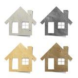 工艺房子纸张被回收的标签 免版税库存图片