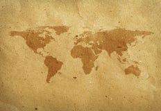 工艺映射纸张被回收的世界 免版税库存照片