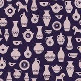 工艺瓦器或陶瓷无缝的样式 花瓶,板材,杯子,茶壶 库存例证