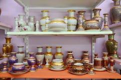工艺Benjarong是传统泰国五种基本的颜色样式pott 免版税库存照片