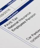 工资单和金钱 免版税库存图片